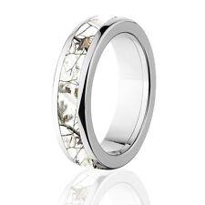 Licensed RealTree AP Snow Titanium Ring, Camo Rings, Camo bands, White camo
