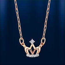 Russische Rose Rotgold 585 Collier kleine Krone mit Brillanten Stilvoll!