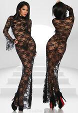 Langes Kleid aus SPITZE mit STRING LINGERIE ABENDKLEID Clubwear 3436 38 40 42 44