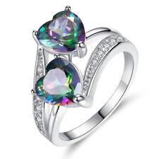 Romantic Heart Shaped Rainbow Fire Mystic Topaz Gems Women Silver Rings Size 7-9
