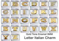 LETTER ITALIAN CHARM GOLD TONE ENAMEL 1 x 9mm LINK - ABCDEFGHIJKLMNOPQRSTUVWXYZ