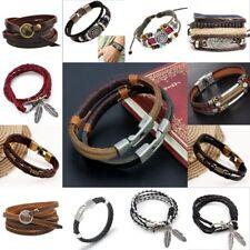 Multilayer Leather Bracelet Handmade Men Women Wristband Bangle Metal Buckle