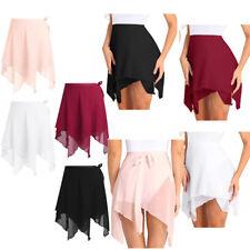Adult Women's Chiffon Ballet Latin Leotard Tutu Wrap Scarf Skirt Dancewear Dress
