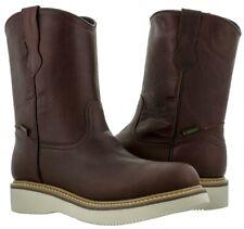 Mens Burgundy Construction Work Shoes Leather Boots Durable Comfort Tough