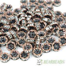 100Pcs Czech Crystal Rhinestone Copper Rondelle Beads 4mm 5mm 6mm 8mm 10mm 12mm