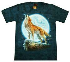 T-Shirt heulender Wolf HD Qualität blau Gr. S M L XL Western Wölfe Mond Biker