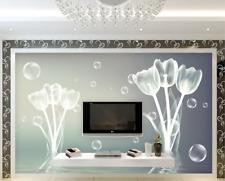Papel Pintado Mural De Vellón Burbuja Tulipán Gris 2 Paisaje Fondo De Pantalla
