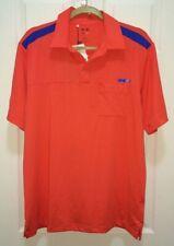 NEW Mens M ADIDAS GOLF Tour Climacool Coral Orange Blue S/S Polo Shirt UPF +15