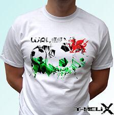 Galles bandiera calcio-BIANCO T SHIRT TOP DESIGN LINEA UOMO DONNA Kids Baby Taglie