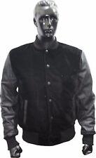 Black Velvet&Black Real Leather Sleeves Varsity College Letterman Bomber Jacket