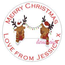 Personalised High Gloss Christmas Circle Sticker Envelope Seals Reindeer Designs