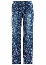 John Baner Damen Stretch-Jeans Hose Blumen-Muster Chino blau 950379