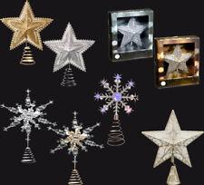 Navidad árbol Navidad Topper joyas, Estrella, copo de nieve, Luz LED Brillo Champagn