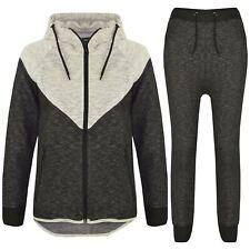 Kids Boys Girls Contrast Panel Tracksuit Grey Hooded Top & Bottom Jogging Suits