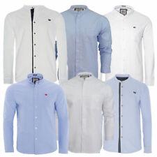 Mens Brave Soul Casey Long Sleeve Cotton Grandad Collar Shirt