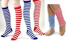 Ringelstrümpfe Überknie / Knie-Strümpfe Stulpen rot- oder blau-weiß gestreift