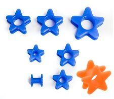Star ear plug flared flexible silicone flesh tunnel in blue  Stretcher 6mm-18mm
