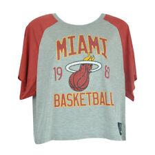 NBA Unk Miami Heat Rhinestone Women Ladies Flowy Loose Distressed Top Shirt