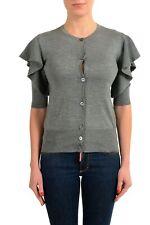 Viktor & Rolf Women's Silk Cashmere Gray Ruffled Short Sleeve Cardigan Sweater