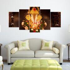 Lord Ganesh Art Split 5 Frames Wall Panels for Living Room #022- HKTPIC-US