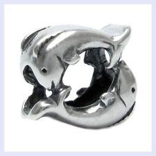 925 Sterling Silver Twin Dancing Dolphins Ocean Bead for European Charm Bracelet