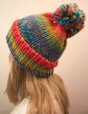 Colorido Gorra de punto con Pompón multicolor lana GRAN BORLA Mujer Neón