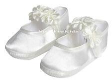 BABY GIRLS CHRISTENING SHOES IVORY/WHITE WEDDING FLOWERGIRL BAPTISM PRAM SHOE