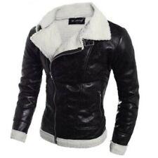 Winter Men's Leather Jacket Lamb Woolen Lined Coat Overcoat Warm Bomber Biker