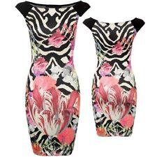 donna crema nero rosa fiori tulipano BODYCON ELASTICO donna abito corto 8-14
