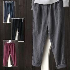 AU Women's Elastic High Waist Baggy Cotton Linen Casual OL Harem Pants Plus Size