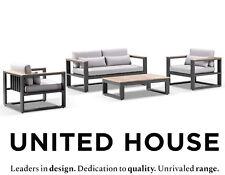 Outdoor Aluminium 2+1+1 Lounge Set Coffee Table Teak Timber Industrial Furniture