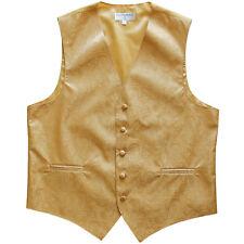 New Man Tuxedo Waistcoat Paisley Gold Vest only Formal Wedding 5XL 6XL