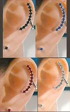 CRYSTAL RHINESTONE SILVER PLATE EAR CUFF STUD CLASSY PUNK  RED BLUE SILVER BLACK