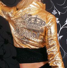 Sexy Miss Damen Jacke Crash Lederimitat Krone Strass gold metallic S 34 M 36 L38