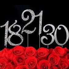 Rhinestone Diamante Birthday Number Cake Topper Anniversary 16 21 30 40 50 60 70