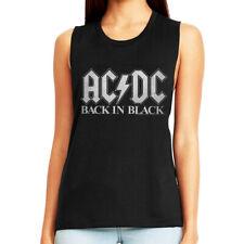 ACDC Back in Black Women's Muscle Tank Top Album Metal Rock Band Concert Merch