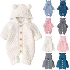Infant Baby Girls Boys Warm Cardigan Jackets Knit Outwear Sweater Romper Coats