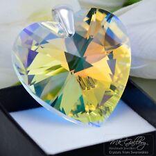 GRANDE Ciondolo 925 Argento 40 mm Cuore-Crystal AB-cristalli di Swarovski ®