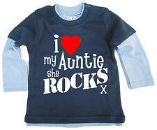 """Baby Skater Top """"I Love My Auntie She Rocks"""" Niece Nephew Aunty"""