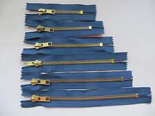 Reißverschüsse Metall für Jeans, Farbe Jeans blau, Längen  8,10,12,14,16,18 cm