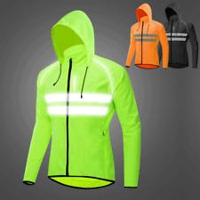 Men's Hooded Cycling Jacket Lightweight Windbreaker Reflective Sports Bike Coat