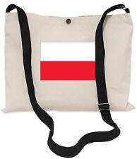 Polish Flag Canvas Musette Bag 40x30cm, 150cm Long black adjustable strap