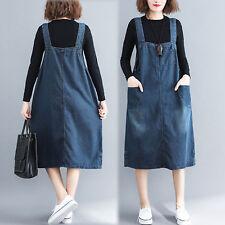 Women Basic Casual Loose Denim Strap Dungaree Overall Dress Knee Length Pinafore
