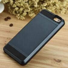 CHARCOAL BLACK Slide Case iPhone Samsung Credit Card Slim Wallet Pocket + GLASS