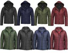 Da Uomo Trapuntato Imbottito Con Cappuccio Zip Caldo Manica Lunga cappotto a bolle puffer giacca 8-14