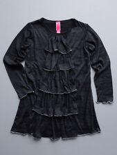 Stella Black Jersey Girls Dress Size 2T, 3T, 5, 6  Distressed Sheer Sleeves NWT