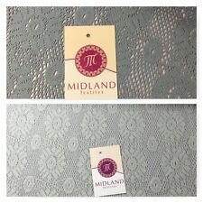 "3D Floral Soft Lace Mesh Crochet Semi Transparent Dress Fabric 58"" Wide Mtex"