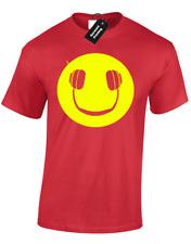 Smiley Cuffie Da Uomo T shirt Funny MUSIC DJ DANCE HOUSE VINILE Rave Mix Regalo
