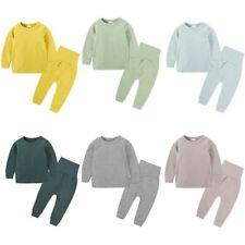 2pcs Toddler Baby Boys Girls Cotton Tops +Tall waist Pants Pajama Clothes Set