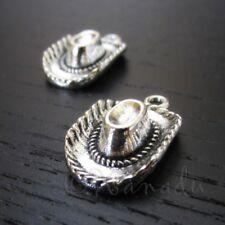 Cowboy Hat Charms - 23mm Antiqued Silver Plated Pendants C7053 - 5, 10, 20PCs
